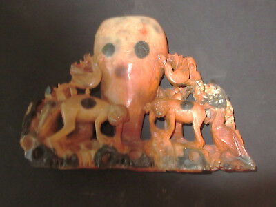 """antique oriental inkwell rare colour soapstone carved monkeys, pigeon large 8,5"""""""