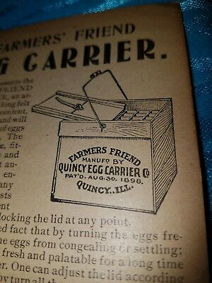 ANTIQUE 1898 QUINCY Illinois advertising trade card Egg Carrier spend 10 OLD