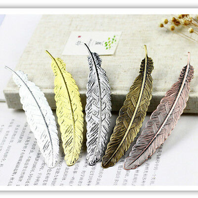 Antique Plated Metal Hollow Animal Feather Bookmark Book Paper Reading QP
