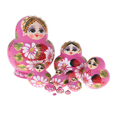 Girl Russian Nesting Doll Babushka Matryoshka Stacking Dolls Set 10 Pcs Pink