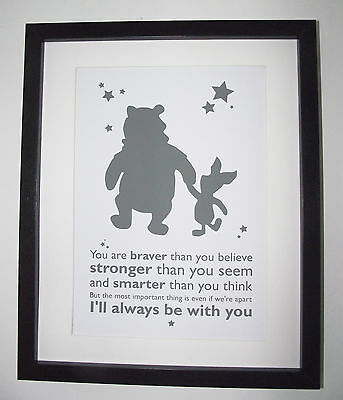 Winnie the Pooh & Piglet Inspired - Braver, Stronger - A4 Art Print / Poster