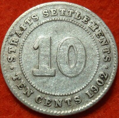 1902 Straits Settlements British Colony Ten 10 Cents SILVER Very Nice Detail