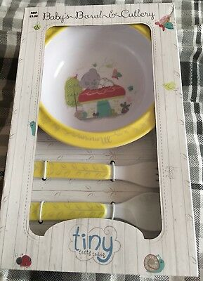 Brand New Me to You Tiny Tatty Teddy Feeding Bowl and Cutlery Set Spoon and Fork