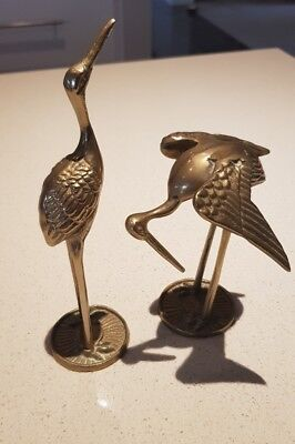 Solid Brass Pair Of Crane 20 Cm High