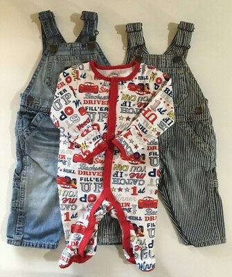 Lot of 3 Baby Boys Denim Jean Stripped Bib Overalls 3 6 Mo OSHKOSH Disney Sleepe