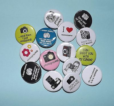 """15 Photography 1.25"""" pin back Buttons."""
