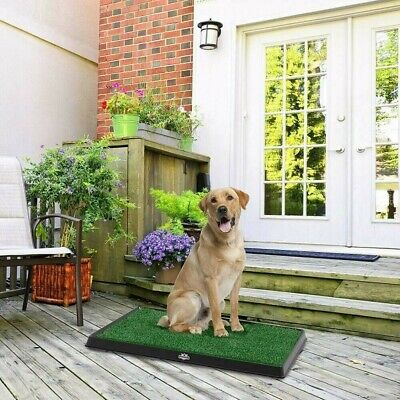 Indoor Restroom Petmaker Puppy Potty Trainer Medium Grass Mat NonToxic Base Tray