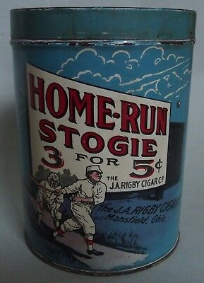 Rare Home Run Advertising Cigar Tobacco Tin Early 1900's Near Mint Best Known