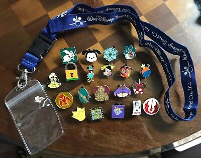 Disney Land/World Pin Trading Lot Lanyard Starter Set With 20 Pins!!