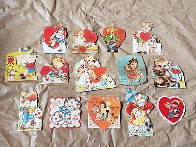 Vintage 1940s 1950s Valentines Day Card Lot A-Meri Rust Craft Hallmark Norcross