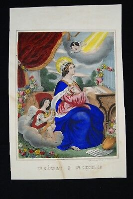 † 19TH SAINT CECILIA MUSICIANS PATRONESS ORIGINAL ETCHING by LORDEREAU FRANCE †