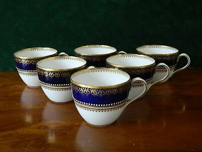 6  Stunning  Vintage Copeland China Cobalt Blue And Gold .cups