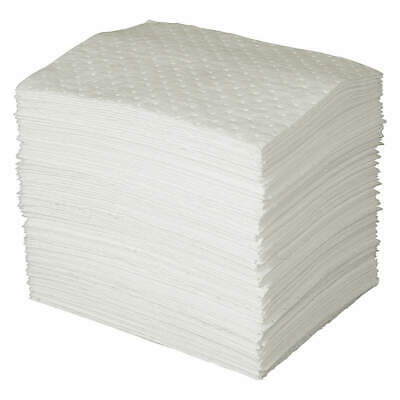 BRADY SPC ABSORBENT 3 Ply Absorb Pad,Oil-Based Liquids,White,PK100, OP100, White