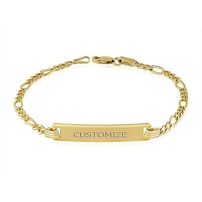 Baby Id Bracelet for Girls and Boys Yellow Authentic14k Gold Free Engraving Kids