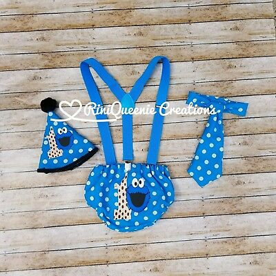 Kids Boys Cookie Monster First 1st Birthday Cake Smash Outfit Baby 4pc