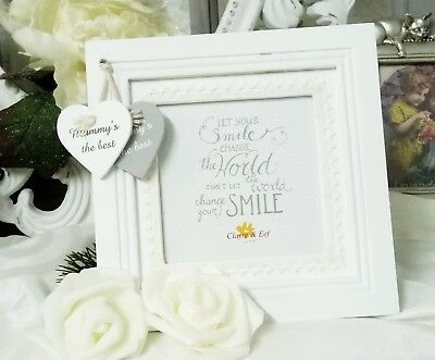 Picture Frame White Heart Mummy ´S the Best Shabby Chic Vintage Cottage