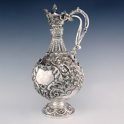 Antique Sterling Silver Armada Claret Jug ~ Mappin Brothers ~ Victorian ~ 1900