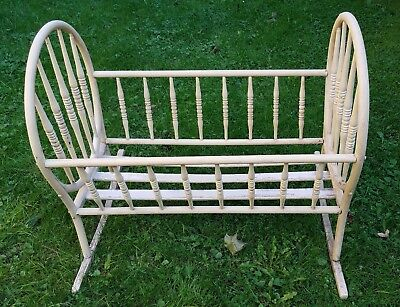Antique Wooden Baby/Doll Cradle w/Round Ends, Spindles, Unusual!