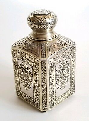 Beautiful 19C Russian Silver Engraved Large Tea Caddy