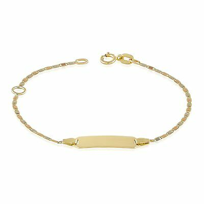 """Gold Baby Bracelets 14k Tri Color Bar Chain 4.5"""" + 1"""" extension Free Engraving"""