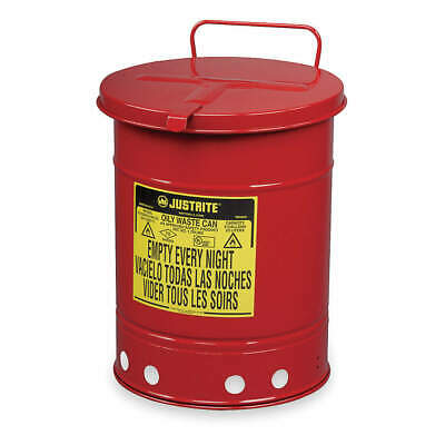 JUSTRITE Oily Waste Can,14 Gal.,Steel,Red, 09510