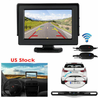 4.3'' Car Rear View LCD Monitor + Reverse Night Vision Parking Backup Camera Kit