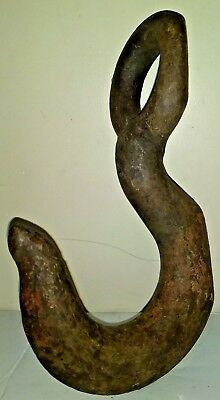 Vintage Large Industry Steel Hook Heavy Old Rustic 5.6 Pounds
