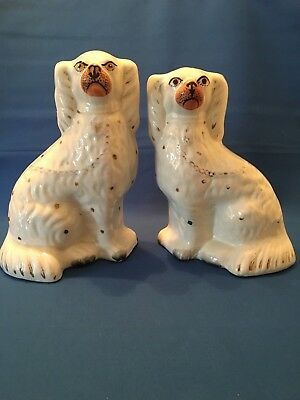 Victorian Staffordshire pair of Over Mantel Fireside Dogs Spaniels