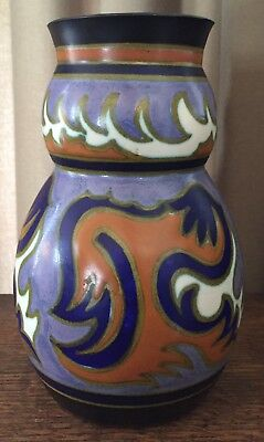 "1929 Gouda Plazuid Holland 6 3/4"" Vase - Lavender, Black, Orange, White & Gold"