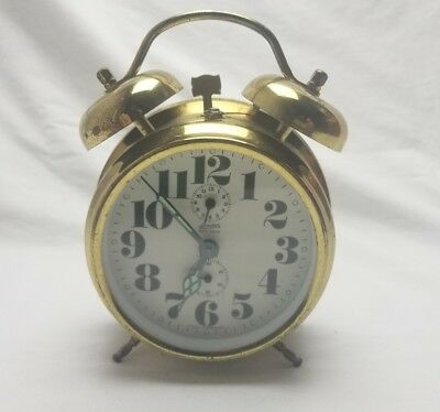 Vintage German Linden Black Forest Brass Mechanical Alarm Clock