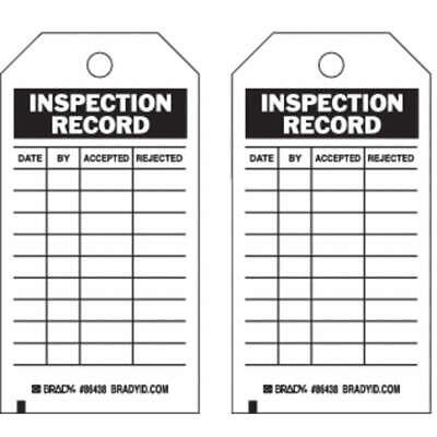 BRADY Polyester Inspection Rcd Tag,5-3/4 x 3 In,Brs,PK10, 86438