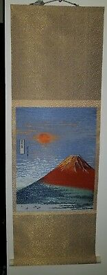 Vintage Oriental Wall Hanging/Scroll/Embroidery of Mount Fuji