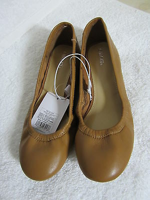 New Girls Leather Ballet Flats by Cherokee, Tan, Size 1 or size 2 Free Shipping