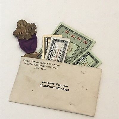1948 Republican Convention Ass't Sergeant At Arms Badge Medal Tickets Stubs