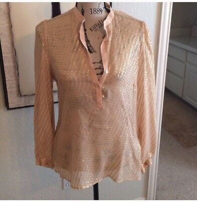 NWT Zara Blush Pink Peach Metallic Gold Embellished Silk 3/4 Sleeve Blouse Small