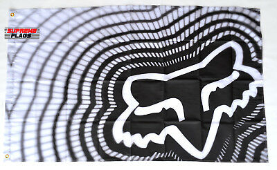 Fox Racing Flag Banner 3x5 ft Wall Garage Black & White
