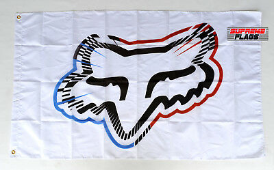 Fox Racing Flag Banner 3x5 ft Wall Garage White Multi Color
