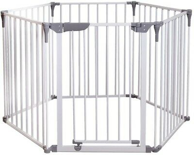 Wide Barrier Baby Child Gate 29 in. H Play-Pen Yard Panels Portable Steel White