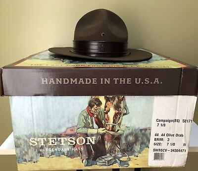 Boy Scouts Olive Wool Stetson Uniform Campaign Hat With Original Box and Tag a18c62a0909
