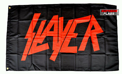 Slayer Flag Banner 3x5 ft Rock Heavy Metal Band Wall Garage Black