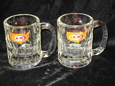 """2 Vintage A&W Root Beer Mugs - Heavy - United States Logo - 8-oz. - 4.25"""" Tall"""