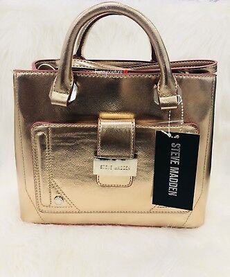 7352318bee STEVE MADDEN BTracy Triple Entry Mini Tote Satchel Crossbody Bag Purse ROSE  GOLD