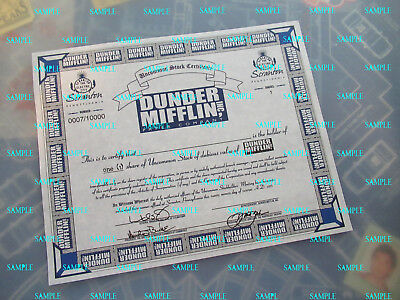 The Office -Dunder Mifflin Stock Certificate Repro Print