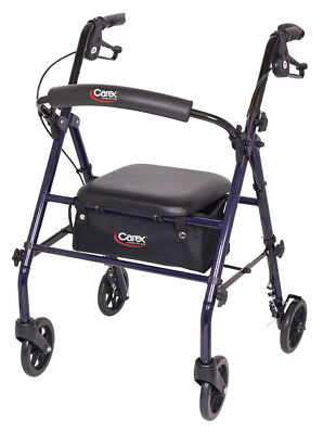 Carex Steel Rollator Walker with Seat and Backrest