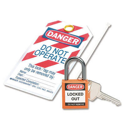 "BRADY Lockout Padlock,KD,Orange,1-7/16""H, 123145"