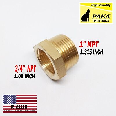 "1 PC- 1"" Male x 3/4"" Female NPT Pipe reducer Hex Bushing adapter Brass Fitting"