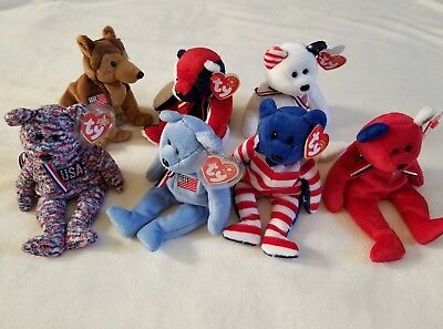 Ty beanie babies: Lot of 7 Patriotic - USA, Liberty, Courage, Patriot, America..