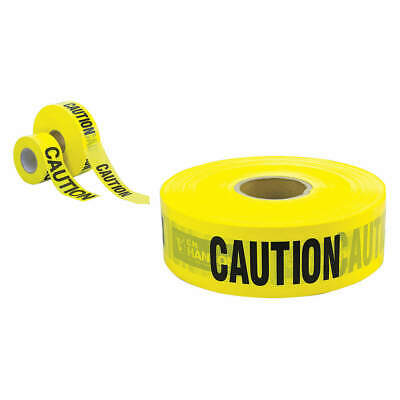 GRAINGER APPROVED Plastic Barricade Tape,Caution,3000 ft.,2 mil, 16091, Yellow