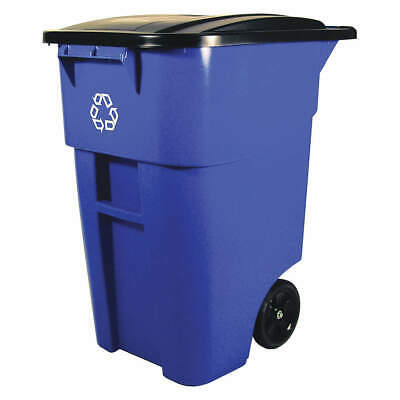 RUBBERMAID Plastic Mobile Recycling Container,Blue,50 gal., FG9W2773BLUE, Blue