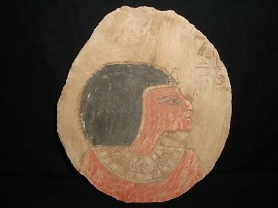 Rare Antique Ancient Egyptian Craved Queen Tiya Wall Fragment Relief 1390-1353BC